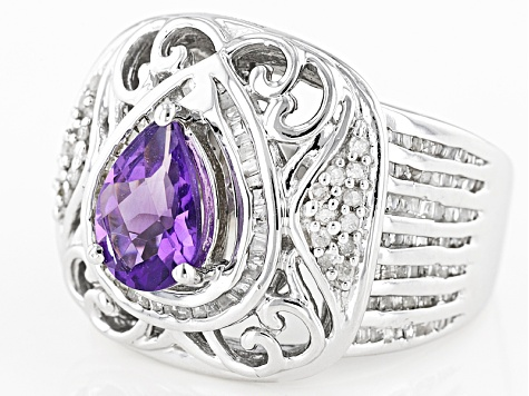 Pre-Owned Purple African Amethyst Sterling Silver Ring 1.83ctw