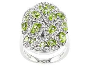 Pre-Owned Green Peridot Sterling Silver Ring 3.38ctw