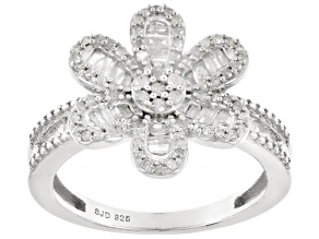 Pre-Owned White Diamond Rhodium Over Sterling Silver Ring .55ctw