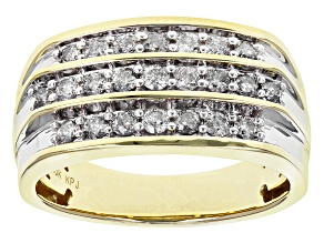 Pre-Owned White Diamond 10k Yellow Gold Gents Ring 1.00ctw