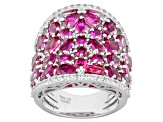 Pre-Owned Red Lab Created Ruby Sterling Silver Ring 10.54ctw