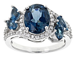 Pre-Owned London Blue Topaz Sterling Silver Ring 4.09ctw