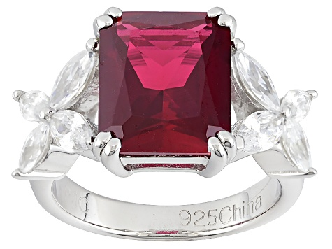 Pre-Owned Synthetic Red Corundum And White Cubic Zirconia Rhodium Over Sterling Ring 8.94ctw