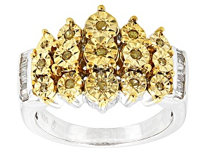 Pre-Owned Yellow And White Diamond Silver Ring  .25ctw