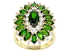 Pre-Owned Green Chrome Diopside 10k Yellow Gold Ring 4.14ctw
