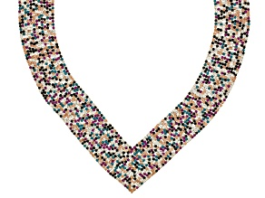 Pre-Owned Multicolor Crystal Gold Tone Statement Necklace