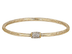 Pre-Owned White Cubic Zirconia 10k Yellow Gold Bracelet 0.16ctw