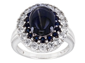 Pre-Owned Blue Star Sapphire 10k White Gold Ring 6.06ctw