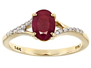 Pre-Owned Red Burmese Ruby 14k Yellow Gold .81ctw