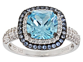 Pre-Owned Blue Synthetic Spinel, Blue And White Cubic Zirconia Rhodium Over Sterling Ring 4.67ctw