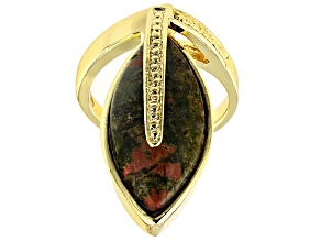 Pre-Owned Multi Color Unakite 18k Yellow Gold Over Bronze Ring