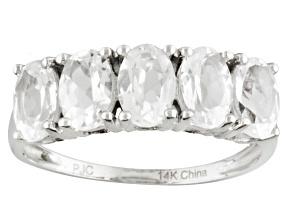 Pre-Owned White Danburite 14k White Gold 5-Stone Ring 2.50ctw