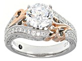 Pre-Owned Cubic Zirconia Sterling Silver And 18k Rose Gold Over Sterling Silver Accents Ring 3.29ctw
