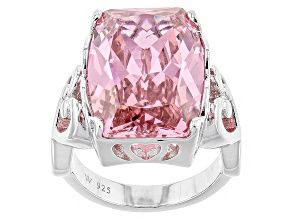 Pre-Owned Pink Cubic Zirconia Rhodium Over Sterling Silver Ring 20.00ctw