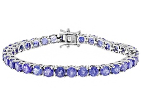Pre-Owned Blue Tanzanite Silver Tennis Bracelet 17.00ctw