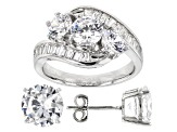 Pre-Owned White Cubic Zirconia Rhodium Over Sterling Silver Ring and Earrings 11.29ctw