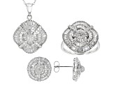 Pre-Owned White Cubic Zirconia Rhodium Over Silver Jewelry Set 10.45ctw