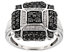 Pre-Owned Black and White Diamond Rhodium over Sterling Silver Ring 1.00ctw