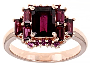 Pre-Owned Purple raspberry color rhodolite 18k rose gold over silver ring 2.57ctw