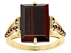 Pre-Owned Red Tiger's Eye 18k Yellow Gold Over Sterling Silver Ring .37ctw