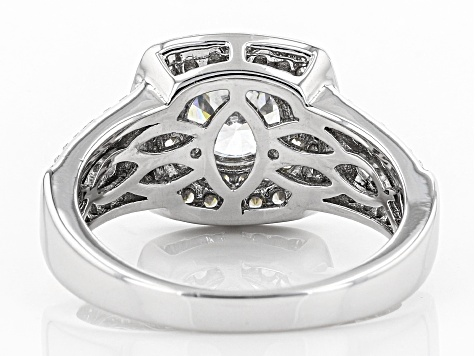Pre-Owned White Cubic Zirconia Rhodium Over Sterling Silver Center Design Ring 4.10ctw