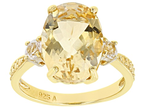 Pre-Owned Yellow Brazilian Citrine 18K Yellow Gold Over Sterling Silver Ring 6.50ctw
