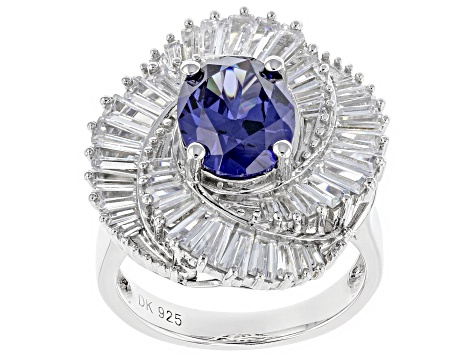 Pre-Owned Blue & White Cubic Zirconia Rhodium Over Sterling Silver Center Design Ring 7.91ctw
