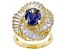 Pre-Owned Blue & White Cubic Zirconia 18k Yellow Gold Over Sterling Silver Center Design Ring 7.91ct