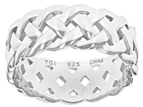 Pre-Owned Rhodium Over Sterling Silver Braided Band