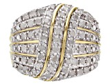 Pre-Owned White Diamond 14k Yellow Gold over Sterling Silver Ring 1.00ctw