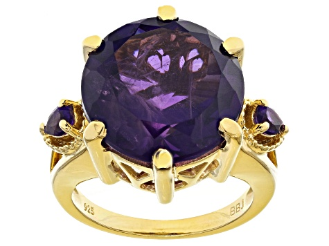 Pre-Owned Purple amethyst 18k yellow gold over sterling silver ring 12.24ctw