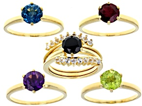 Pre-Owned Multi gemstones 18k yellow gold over sterling silver ring 6.78ctw