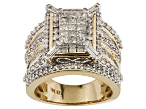 Pre-Owned DIAMOND 2.25CTW ROUND, BAGUETTE, & PRINCESS CUT 10K YELLOW GOLD RING