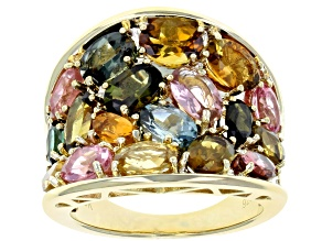 Pre-Owned Mixed-color tourmaline 18k yellow gold over sterling silver ring 6.36ctw