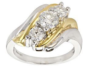 Pre-Owned Moissanite Platineve And 14k Yellow Gold Over Platineve Ring 1.26ctw DEW.