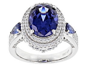 Pre-Owned Blue And White Cubic Zirconia Rhodium Over Sterling Silver Ring 8.03ctw