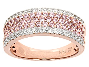 Pre-Owned Pink And White Cubic Zirconia 18k Rose Gold Over Silver Ring 1.59ctw (.99ctw DEW)