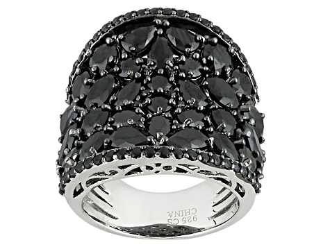 Pre-Owned Black Spinel Sterling Silver Band Ring 8.03ctw