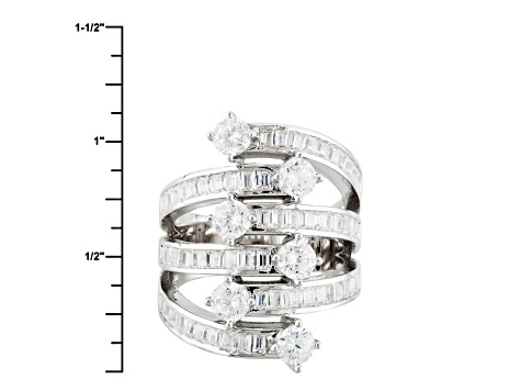 Pre-Owned White Cubic Zirconia Rhodium Over Sterling Silver Ring 5.51ctw