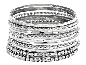 Pre-Owned White Crystal Silver Tone Bangle Set Of 12