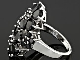 Pre-Owned Black Spinel Sterling Silver Floral Ring 6.49ctw