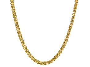 Pre-Owned White Crystal Gold Tone Byzantine Link Necklace