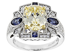Pre-Owned Lab Created Blue Sapphire,Yellow, & White Cubic Zirconia Rhodium Over Sterling Ring 8.33ct