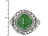 Pre-Owned Green Crackle Quartz Silver Ring 5.30ctw