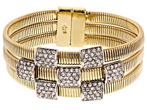 Pre-Owned White Crystal Gold Tone Bracelet