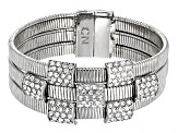 Pre-Owned White Crystal Silver Tone Bracelet