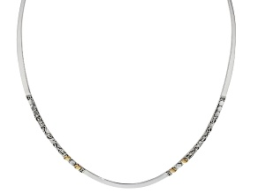 Pre-Owned Silver And 18k Gold Over Silver Accent Collar Necklace