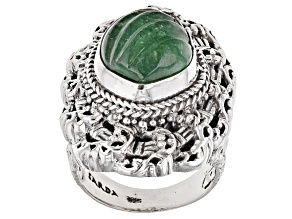 Pre-Owned Green Kiwi Quartz Silver Ring