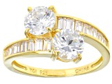Pre-Owned Cubic Zirconia 18k Yellow Gold Over Sterling Silver Ring 6.12ctw