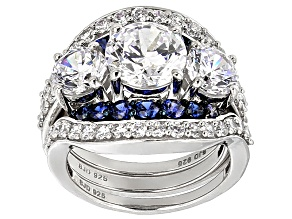 Pre-Owned White And Blue Cubic Zirconia Silver Ring With 2 Bands 10.25ctw